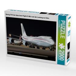 CALVENDO Puzzle Boeing 747-8 der Qatar Amiri Flight A7-HBJ nach der Landung aus Doha 2000 Teile Lege-Größe 90 x 67 cm Foto-Puzzle Bild von Rainer Spoddig