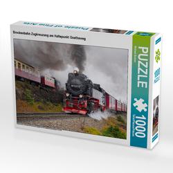CALVENDO Puzzle Brockenbahn Zugkreuzung am Haltepunkt Goetheweg 1000 Teile Lege-Größe 64 x 48 cm Foto-Puzzle Bild von Michael Bromm