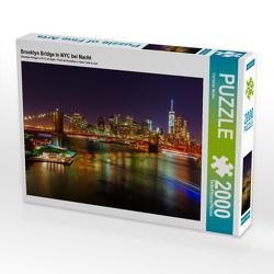 CALVENDO Puzzle Brooklyn Bridge in NYC bei Nacht 2000 Teile Lege-Größe 90 x 67 cm Foto-Puzzle Bild von Christian Müller