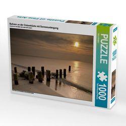 CALVENDO Puzzle Buhnen an der Ostseeküste mit Sonnenuntergang 1000 Teile Lege-Größe 64 x 48 cm Foto-Puzzle Bild von Rico Ködder von Ködder,  Rico