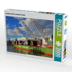 CALVENDO Puzzle Containerschiff im Seehafen Seattle 2000 Teile Lege-Größe 90 x 67 cm Foto-Puzzle Bild von Jana Thiem-Eberitsch