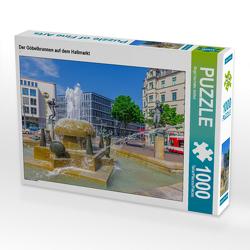 CALVENDO Puzzle Der Göbelbrunnen auf dem Hallmarkt 1000 Teile Lege-Größe 64 x 48 cm Foto-Puzzle Bild von Birgit Harriette Seifert