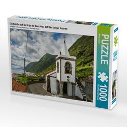 CALVENDO Puzzle Die Kirche auf der Faja de Sao Joao auf Sao Jorge, Azoren 1000 Teile Lege-Größe 64 x 48 cm Foto-Puzzle Bild von Martin Zwick
