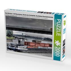 CALVENDO Puzzle Drei Brücken: A 40 Neuenkamp, Brücke der Solidarität, Hochfelder Eisenbahnbrücke 2000 Teile Lege-Größe 90 x 67 cm Foto-Puzzle Bild von Joachim Petsch