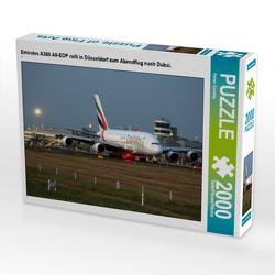 CALVENDO Puzzle Emirates A380 A6-EOP rollt in Düsseldorf zum Abendflug nach Dubai. 2000 Teile Lege-Größe 90 x 67 cm Foto-Puzzle Bild von Rainer Spoddig