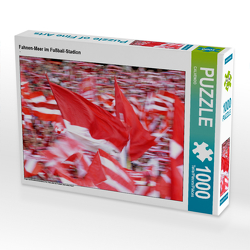 CALVENDO Puzzle Fahnen-Meer im Fußball-Stadion 1000 Teile Lege-Größe 64 x 48 cm Foto-Puzzle Bild von CALVENDO