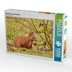 CALVENDO Puzzle Eichhörnchen mit Walnuss 1000 Teile Lege-Größe 64 x 48 cm Foto-Puzzle Bild von René Schaack