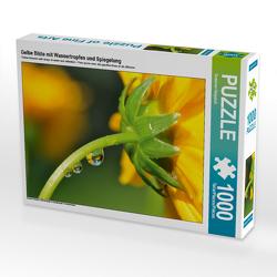 CALVENDO Puzzle Gelbe Blüte mit Wassertropfen und Spiegelung 1000 Teile Lege-Größe 64 x 48 cm Foto-Puzzle Bild von Susanne Herppich