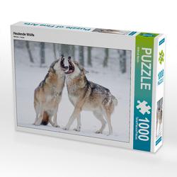 CALVENDO Puzzle Heulende Wölfe 1000 Teile Lege-Größe 64 x 48 cm Foto-Puzzle Bild von Wilfried Martin