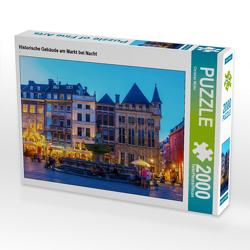 CALVENDO Puzzle Historische Gebäude am Markt bei Nacht 2000 Teile Lege-Größe 90 x 67 cm Foto-Puzzle Bild von Christian Müller