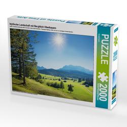CALVENDO Puzzle Idyllische Landschaft mit Bergblick Oberbayern 2000 Teile Lege-Größe 90 x 67 cm Foto-Puzzle Bild von SusaZoom