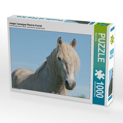 CALVENDO Puzzle Junges Camargue-Pferd im Porträt 1000 Teile Lege-Größe 64 x 48 cm Foto-Puzzle Bild von Meike Bölts