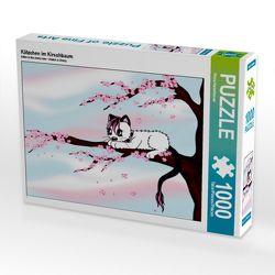 CALVENDO Puzzle Kätzchen im Kirschbaum 1000 Teile Lege-Größe 64 x 48 cm Foto-Puzzle Bild von Petra Haberhauer von Haberhauer,  Petra