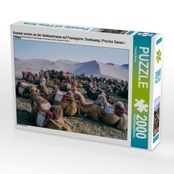 CALVENDO Puzzle Kamele warten an der Seidenstrasse auf Passagiere: Dunhuang / Provinz Gansu / China 2000 Teile Lege-Größe 90 x 67 cm Foto-Puzzle Bild von Thomas Bering