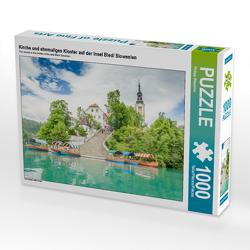 CALVENDO Puzzle Kirche und ehemaliges Kloster auf der Insel Bled/ Slowenien 1000 Teile Lege-Größe 64 x 48 cm Foto-Puzzle Bild von Philipp Blaschke