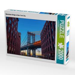 CALVENDO Puzzle Manhattan Bridge in New York City 2000 Teile Lege-Größe 90 x 67 cm Foto-Puzzle Bild von Christian Müller