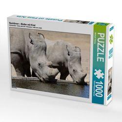 CALVENDO Puzzle Nashörner – Mutter mit Kind 1000 Teile Lege-Größe 64 x 48 cm Foto-Puzzle Bild von Michael Herzog