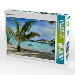 CALVENDO Puzzle Palme mit Boot 2000 Teile Lege-Größe 90 x 67 cm Foto-Puzzle Bild von iPics Photography