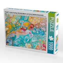 """CALVENDO Puzzle """"Pastell"""", Acrylic Pouring, Abstrakte Malerei von Carola Vahldiek (Ausschnitt) 1000 Teile Lege-Größe 64 x 48 cm Foto-Puzzle Bild von Carola Vahldiek"""