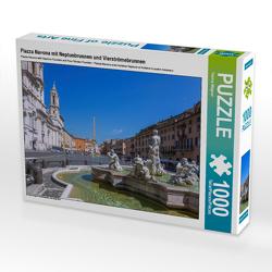 CALVENDO Puzzle Piazza Navona mit Neptunbrunnen und Vierströmebrunnen 1000 Teile Lege-Größe 64 x 48 cm Foto-Puzzle Bild von Hanna Wagner