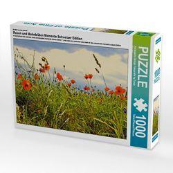 CALVENDO Puzzle Rosen und Mohnblüten Momente Schweizer Edition 1000 Teile Lege-Größe 64 x 48 cm Foto-Puzzle Bild von Avianaarts Design Fotografie by Tanja Riedel von Design Fotografie by Tanja Riedel,  Avianaarts
