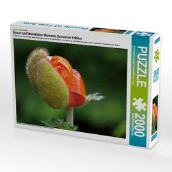 CALVENDO Puzzle Rosen und Mohnblüten Momente Schweizer Edition 2000 Teile Lege-Größe 90 x 67 cm Foto-Puzzle Bild von Avianaarts Design Fotografie by Tanja Riedel