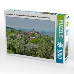 CALVENDO Puzzle Sankt Michael am Bruckbach am westlichen Ende des Panoramahöhenwegs 1000 Teile Lege-Größe 64 x 48 cm Foto-Puzzle Bild von Joachim Barig