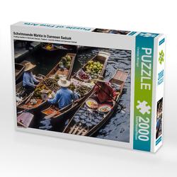 CALVENDO Puzzle Schwimmende Märkte in Damnoen Saduak 2000 Teile Lege-Größe 90 x 67 cm Foto-Puzzle Bild von Christian Müringer