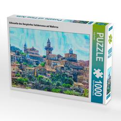 CALVENDO Puzzle Silhouette des Bergdorfes Valldemossa auf Mallorca 1000 Teile Lege-Größe 64 x 48 cm Foto-Puzzle Bild von Anja Frost