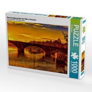 CALVENDO Puzzle Sonnenaufgang über der Elbe in Dresden 1000 Teile Lege-Größe 64 x 48 cm Foto-Puzzle Bild von Dirk Meutzner von Meutzner,  Dirk