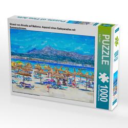 CALVENDO Puzzle Strand von Alcudia auf Mallorca. Aquarell eines Badeparadies mit Sonnenschirmen. 1000 Teile Lege-Größe 64 x 48 cm Foto-Puzzle Bild von Anja Frost