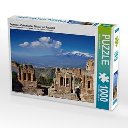 CALVENDO Puzzle Taormina – Griechisches Theater mit Ätnablick 1000 Teile Lege-Größe 64 x 48 cm Foto-Puzzle Bild von Juergen Schonnop