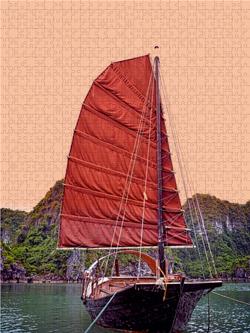 CALVENDO Puzzle Traditionelle Dschunke in der Bucht 1000 Teile Lege-Größe 480 x 640 cm Foto-Puzzle Bild von Joern Stegen