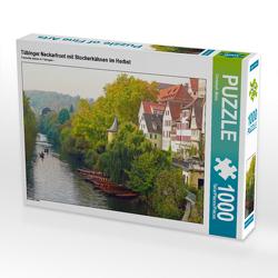 CALVENDO Puzzle Tübinger Neckarfront mit Stocherkähnen im Herbst 1000 Teile Lege-Größe 64 x 48 cm Foto-Puzzle Bild von Christoph Maas
