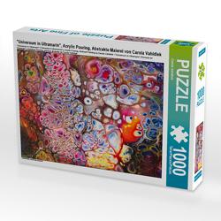 """CALVENDO Puzzle """"Universum in Ultramarin"""", Acrylic Pouring, Abstrakte Malerei von Carola Vahldiek 1000 Teile Lege-Größe 64 x 48 cm Foto-Puzzle Bild von Carola Vahldiek"""