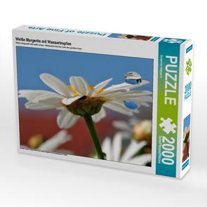 CALVENDO Puzzle Weiße Margerite mit Wassertropfen 2000 Teile Lege-Größe 90 x 67 cm Foto-Puzzle Bild von Susanne Herppich