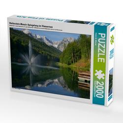 CALVENDO Puzzle Wetterstein-Massiv-Spiegelung im Riessersee 2000 Teile Lege-Größe 90 x 67 cm Foto-Puzzle Bild von Dieter-M. Wilczek
