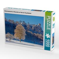 CALVENDO Puzzle Winterlandschaft im Wiesenttal am Fuße der Burg Neideck 1000 Teile Lege-Größe 64 x 48 cm Foto-Puzzle Bild von Harry Müller
