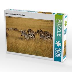 CALVENDO Puzzle Zebras und Gnus in der Masai Mara 1000 Teile Lege-Größe 64 x 48 cm Foto-Puzzle Bild von Andreas Demel