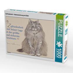 CALVENDO Puzzle Zufriedenheit – Katzenzeichnung mit Zitat 1000 Teile Lege-Größe 64 x 48 cm Foto-Puzzle Bild von Dany's Kunst & Design von Kunst & Design,  Dany's