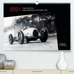 Cars and Stars, Retro-Motorsport-Gemälde in SW (Premium, hochwertiger DIN A2 Wandkalender 2021, Kunstdruck in Hochglanz) von Bartsch / design,  Andreas, bartsch.