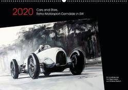 Cars and Stars, Retro-Motorsport-Gemälde in SW (Wandkalender 2020 DIN A2 quer) von Bartsch / design,  Andreas, bartsch.