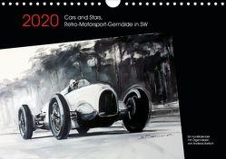 Cars and Stars, Retro-Motorsport-Gemälde in SW (Wandkalender 2020 DIN A4 quer) von Bartsch / design,  Andreas, bartsch.