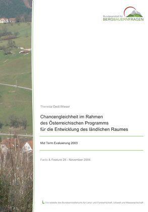 Chancengleichheit im Rahmen des Österreichischen Programms für die Entwicklung des ländlichen Raums von Oedl-Wieser,  Theresia