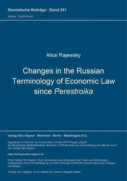 Changes in the Russian Terminology of Economic Law since Perestroika von Rajewsky,  Alice
