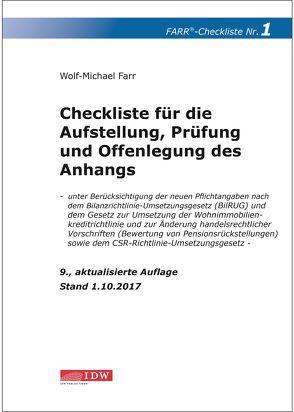 Checkliste 1 für die Aufstellung, Prüfung und Offenlegung des Anhangs von Farr,  Wolf-Michael