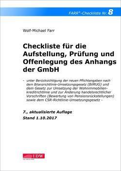 Checkliste 8 für die Aufstellung, Prüfung und Offenlegung des Anhangs der GmbH von Farr,  Wolf-Michael