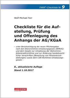 Checkliste 9 für die Aufstellung, Prüfung und Offenlegung des Anhangs der AG/KGaA von Farr,  Wolf-Michael