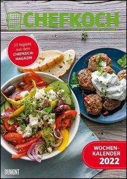 CHEFKOCH Wochenkalender 2022 – Küchen-Kalender – mit Notizfeld – pro Woche 1 Rezept – Format DIN A4 – Spiralbindung