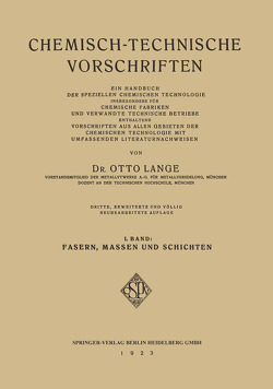 Chemisch-Technische Vorschriften von Lange,  Dr. Otto